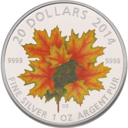 Glow in the Dark - Maple Leaves ~ 2014 $20 1 oz Silver Coin