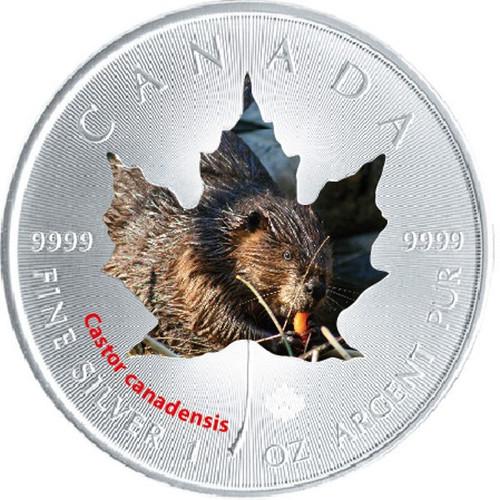 2015 Canadian Wildlife 1 oz Silver Maple Leaf - Beaver