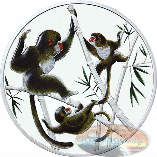 2016 Tokelau-Playful in Bamboo-Year of Monkey- Silver Proof Color Coin