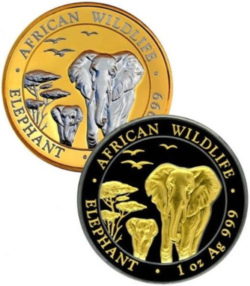 2015 Somalia Elephant 2 x 1 oz Silver Gold Platinum Line Set Ruthenium