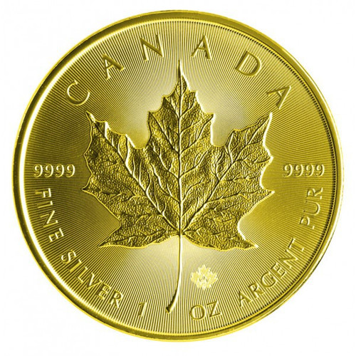2014 1 oz Silver Maple Leaf Full Gilded - 24K Gold