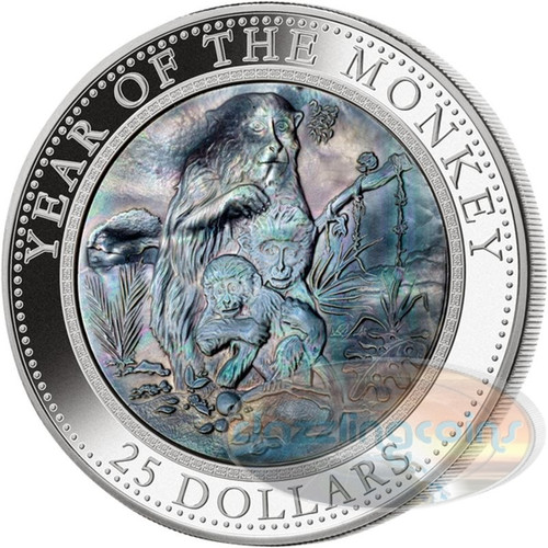 Year of the Monkey - Mother of Pearl 5 oz Proof Silver Coin $25 Cook Islands 2016