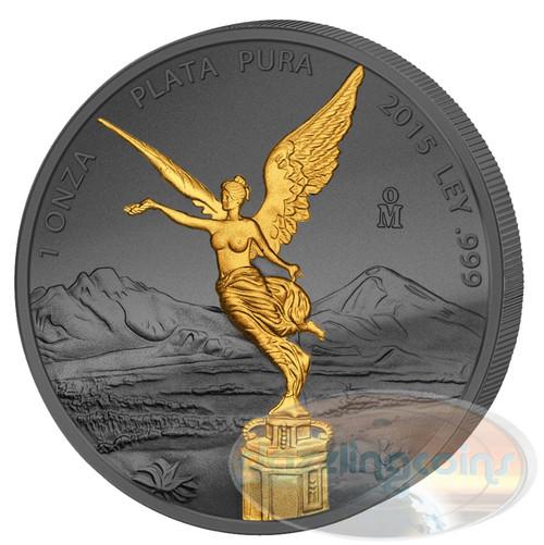Golden Enigma - Libertad- 1 oz Silver & Ruthenium & Gold Plated Coin