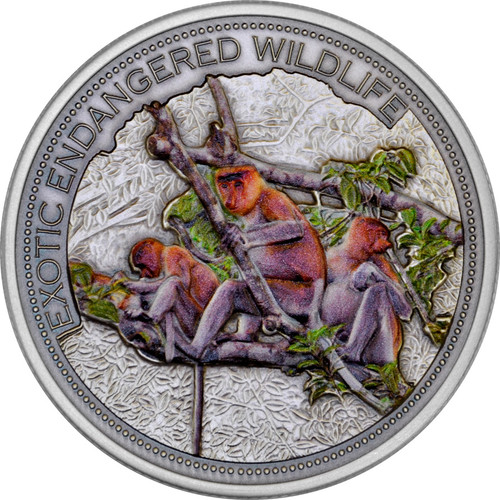 2 oz Proboscis Monkey   High Relief  Silver Coin  $20  Fiji 2015