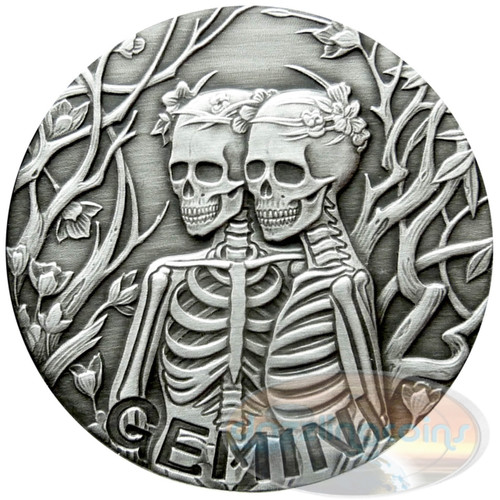 2015 ZODIAC Gemini  MEMENTO MORI Rimless HR Antique Silver 1oz