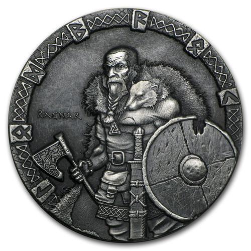 Viking Series~Ragnar~ Rimless Antique Silver 2 oz Niue 2015