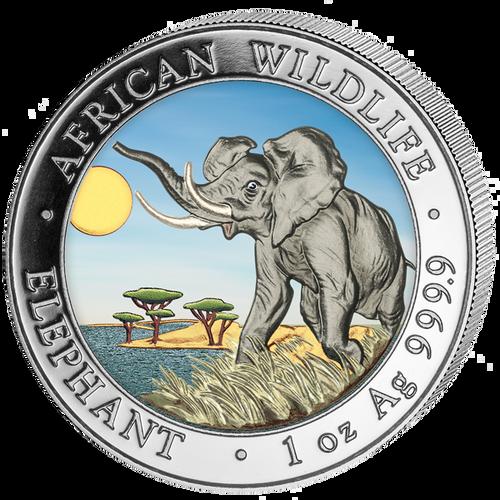 2016 Somalia~ African ELEPHANT Color 1oz Silver Coin