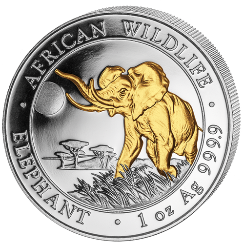 2016 Somalia~ African ELEPHANT Gilded  1oz Silver Coin