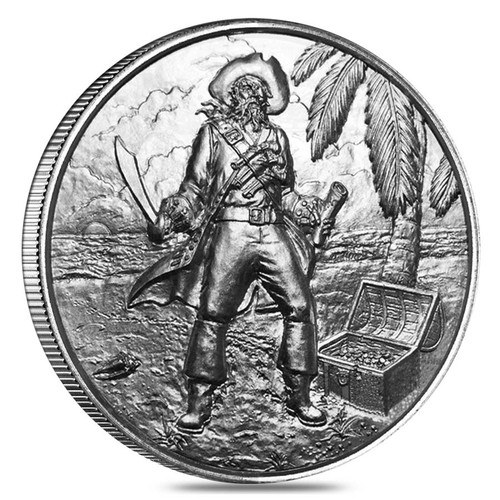 2 oz Silver Privateer Ultra High Relief Rounds The Captain Silver #3