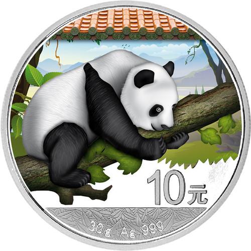 30 g Silver  color Panda  10 Y China 2016