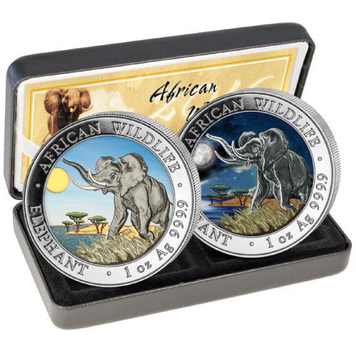 2 x 1 oz Silver Elephant Set Day-Night 2016