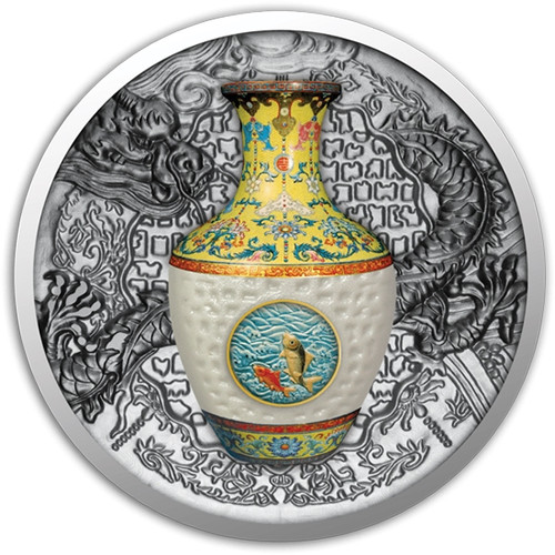 QING DYNASTY VASE Real Porcelain 1 oz Silver Coin 1$ Niue 2016