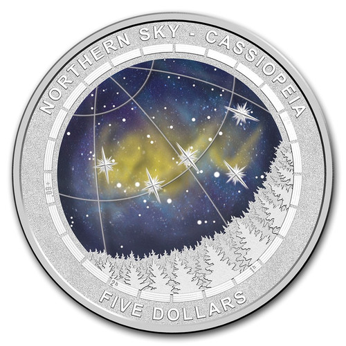 Northern Sky Cassiopeia Convex $5 Silver Proof Coin AUS 2016