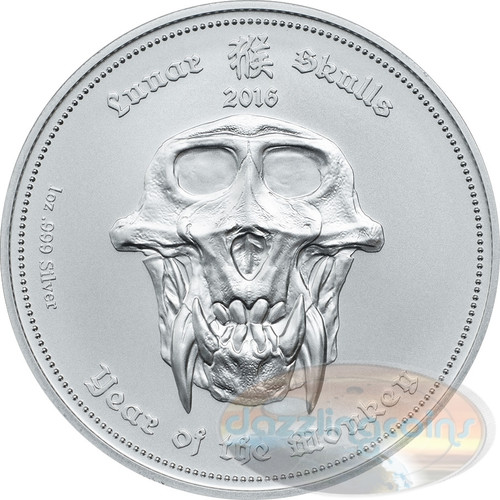 "2016 Palau ""Lunar Skulls"" Year of the Monkey 1oz .999 Silver HR Coin"