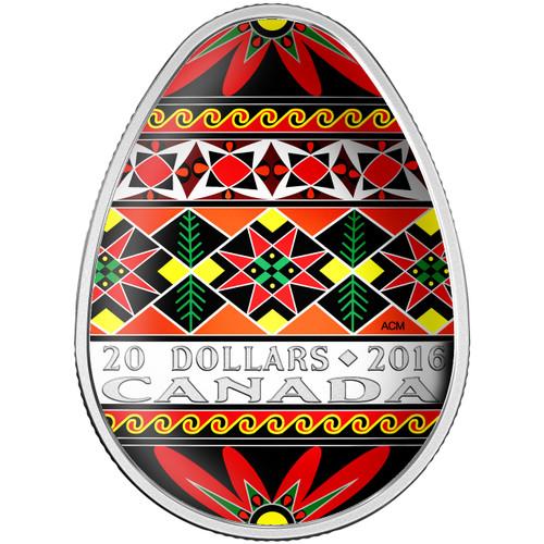 TRADITIONAL UKRAINIAN PYSANKA - 2016 $20 1 oz Fine Silver Coin