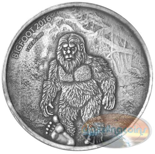 BIGFOOT - 2016 1 oz Pure Silver Coin - Premium Antique Finish - Burkina Faso