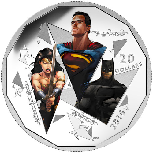2016 $20 Silver Coin - Batman v Superman- Dawn of Justice -THE TRINITY