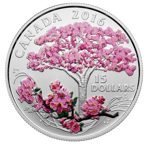 CHERRY BLOSSOMS - 2016 Canada $15 3/4 oz Fine Silver Coin