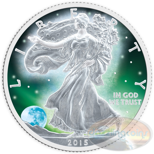 Product - Frozen American Silver Eagles Walking Liberty 1 oz Silver Rhodium Plating & Special Color