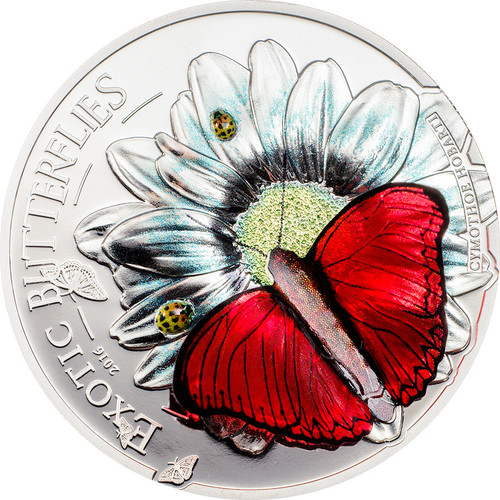 Exotic Butterflies in 3D - CYMOTHOE HOBART - 2016 1000 Sh Pure Silver Coin