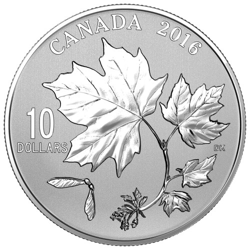Canadian Maple Leaves  1/2 oz .9999 Silver $10  2016 Canada