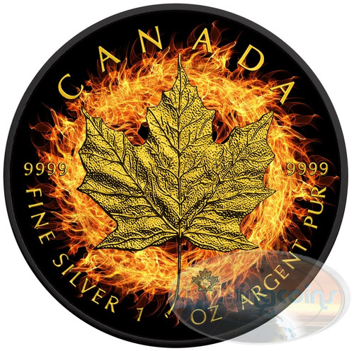 BURNING MAPLE LEAF - 2016 1 oz Silver Coin - Ruthenium-24K Gold Gilding