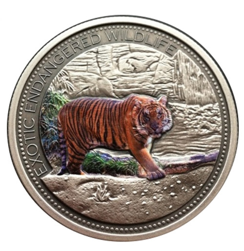 2 oz Malasyan Tiger High Relief Silver Coin $20 Fiji 2016