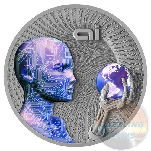 Artificial Inteligence - AI - CODE OF THE FUTURE - 2016 Niue 2 oz Silver Coin