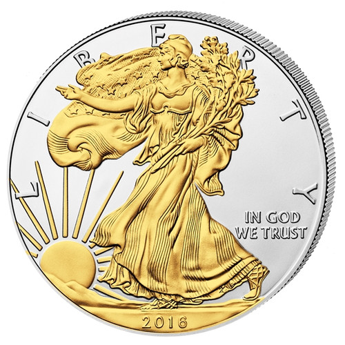 2016 1 oz  Walking Liberty -Silver Eagle Coin 24 carat Gilded