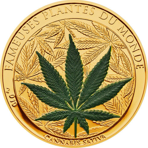 Cannabis Sativa scent 100 Francs Gold plated Coin Benin 2010