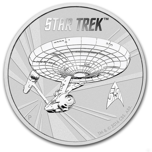 ORIGINAL U.S.S. ENTERPRISE - STAR TREK - 2016 1 oz Silver Coin rev