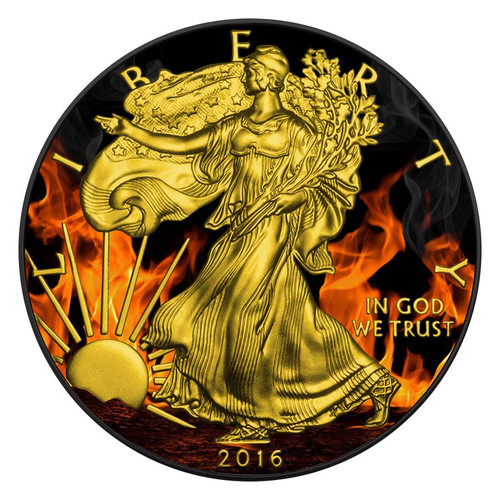 BURNING LIBERTY - 2016 1 oz Silver Eagle Coin - Ruthenium &24K Gold