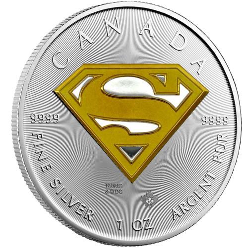 Silver Superman S-Shield 1oz 24K Gold Gilded 2016 Canada