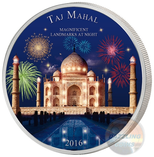 TAJ MAHAL- Landmarks at Night -2 oz Silver Coin 1500 Fr Cameroon 2016