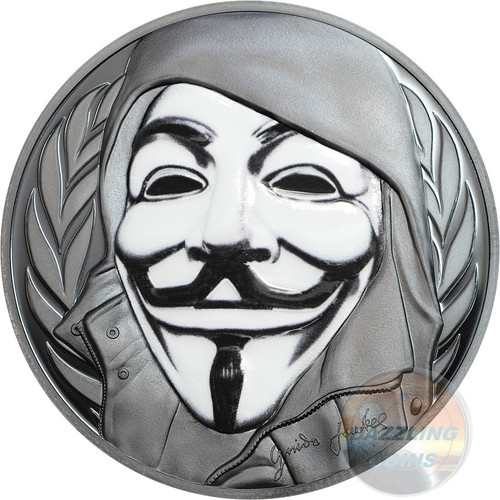 GUY FAWKES MASK - Porcelain Effect 2016 1 oz Pure Silver Coin