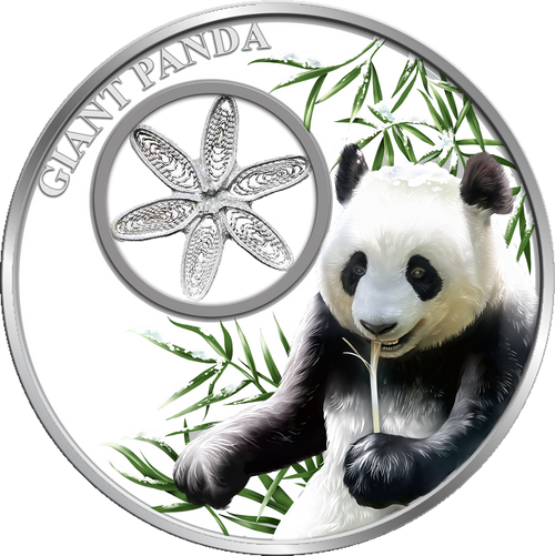 Snowflake PANDA BEAR 1oz Silver Filigree Coin Tokelau 2017