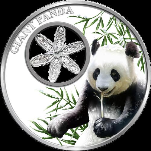 Snowflake PANDA BEAR 1oz Silver Filigree Coin Tokelau 2017