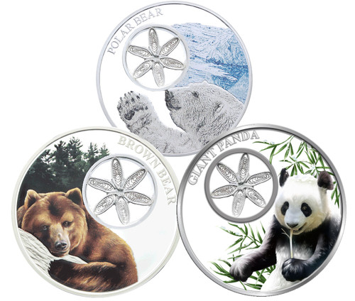 Snowflake Bears Filigree Coins Set 3 x 1oz Silver Coin Tokelau 2017