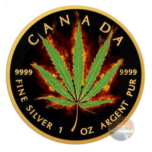 2016 Maple Leaf Burning Marijuana-Sativa 1oz Silver Coin