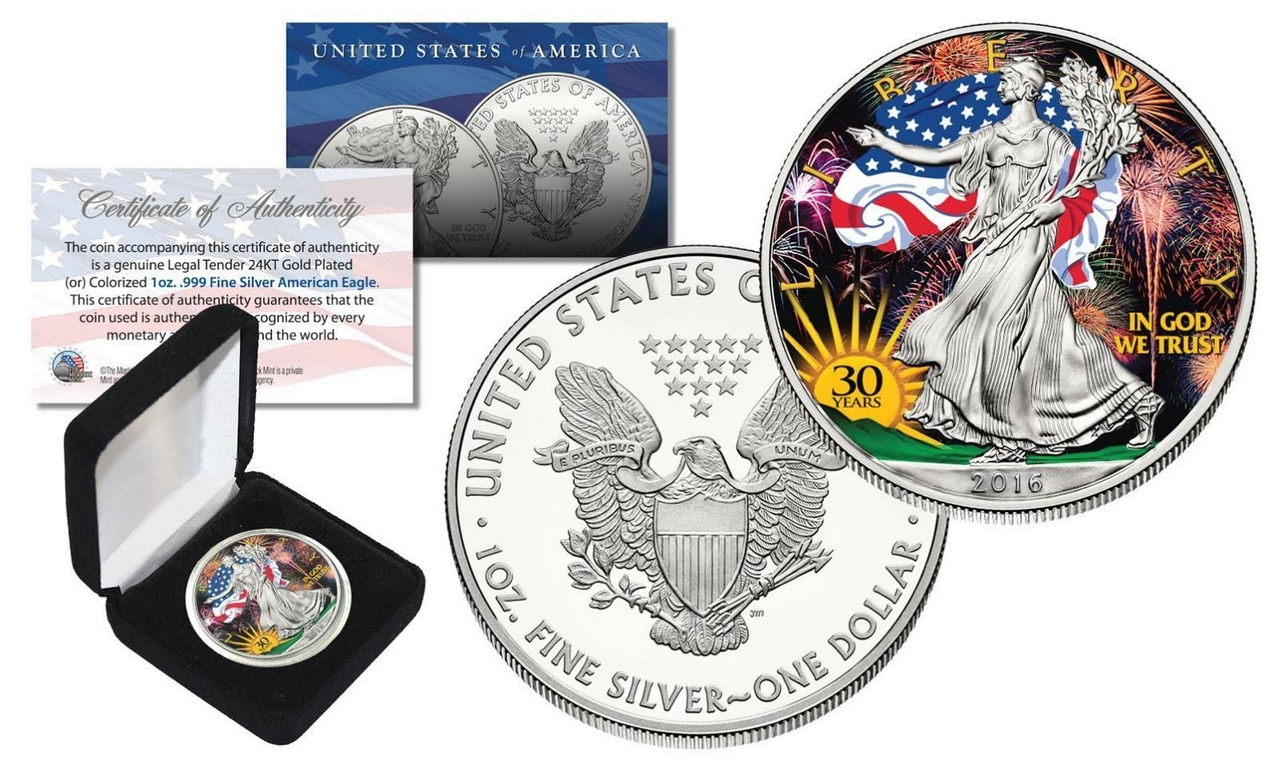 30th Anniversary Color Gilded Liberty 2016 1 Oz Silver