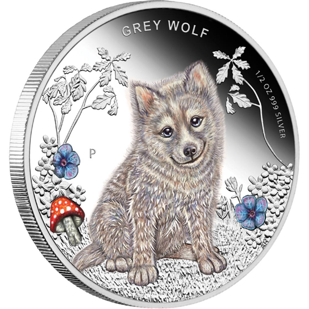 Forest Babies Grey Wolf 2013 1 2oz Silver Proof Coin