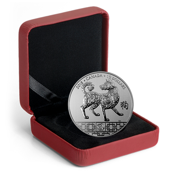 1994 China Lunar Zodiac Year Of The Dog Coin Medal Fine: $10 1/2 Oz Fine Silver Coin 2018 Canada