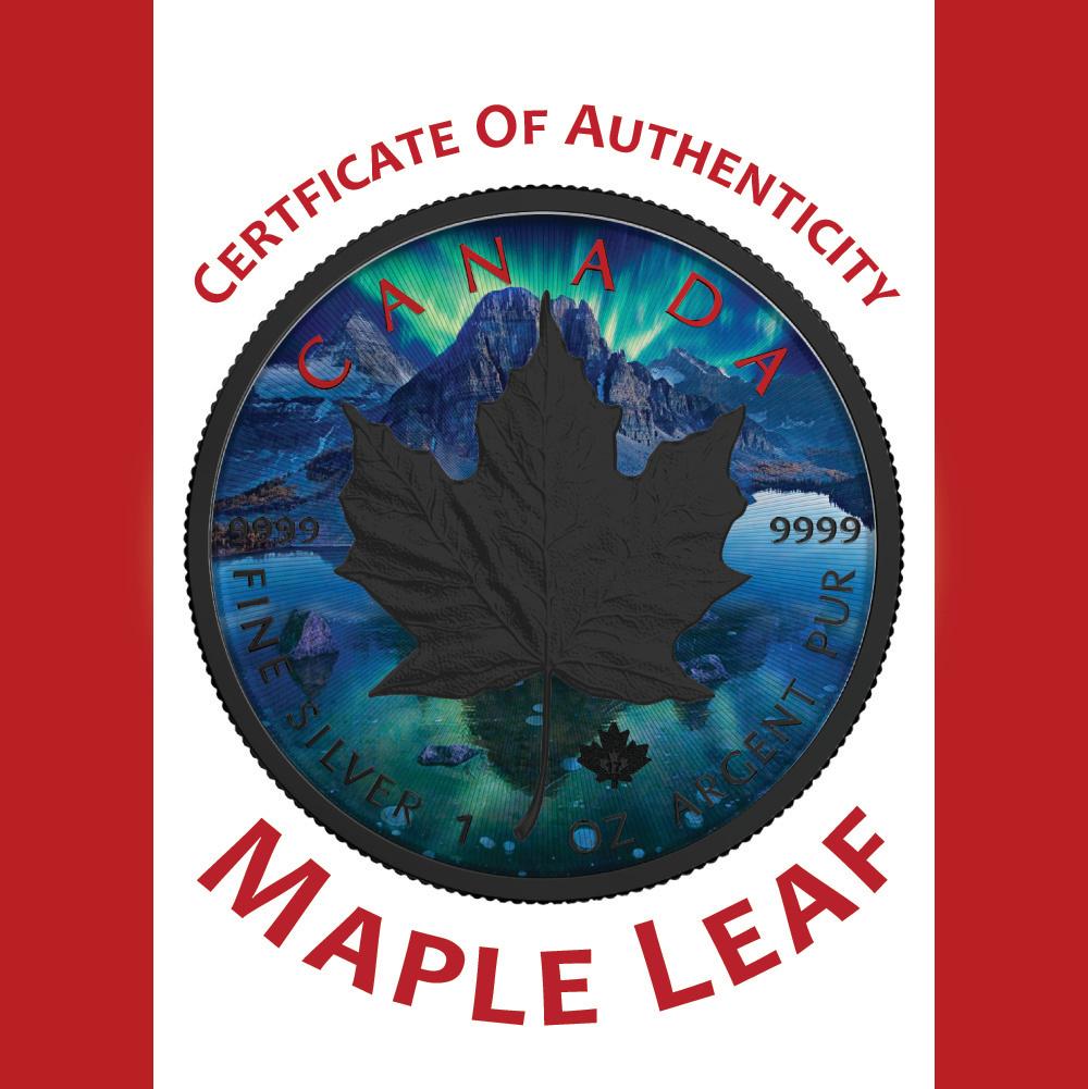 Maple Leaf Aurora Silver Maple Leaf 1 Oz Silver Coin