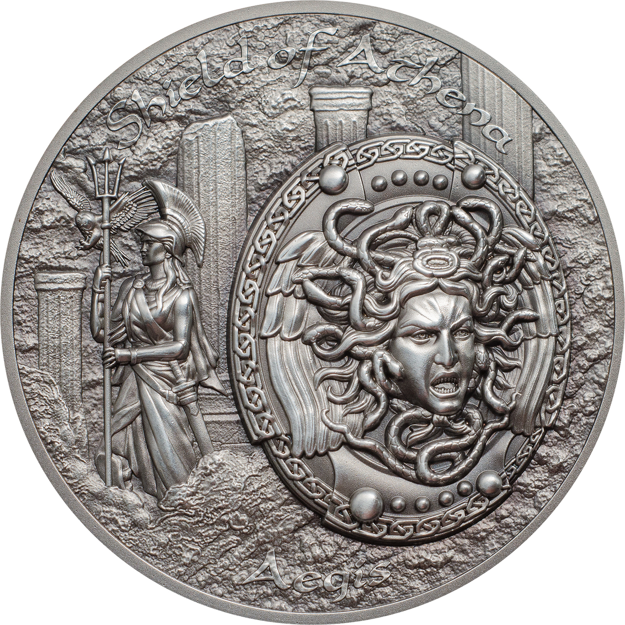 Shield Of Athena Aegis W Medusa 2 Oz Silver Coin Cook Islands 2018