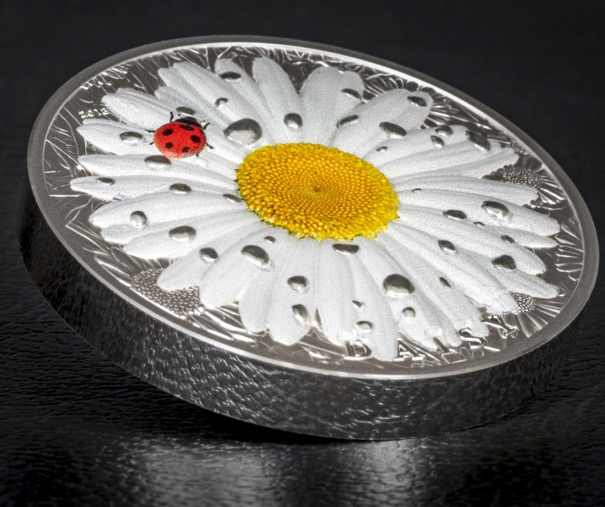 Daisy ladybug high relief flowers leaves 2 oz silver coin 10 palau 2018 izmirmasajfo