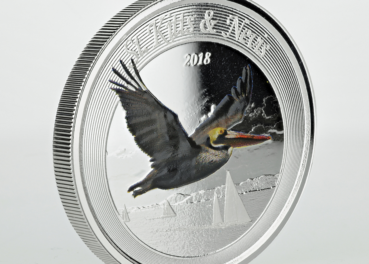 brown pelican 1 oz 999 silver color proof coin st kitts nevis 2018