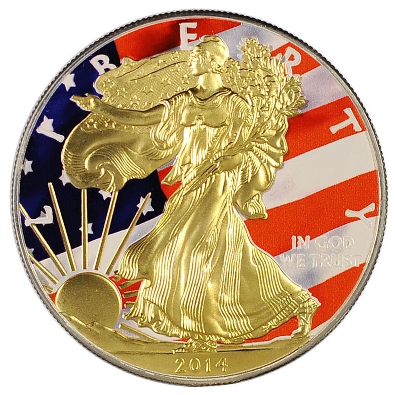 24 Carat Gold Plated Walking Liberty On A Solid 999 Fine