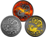 TWO DRAGONS 3 COINS SET 3 OZ SILVER COIN UK 2018