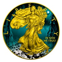 HALLOWEEN WALKING LIBERTY-SKULLS-2016 1 OZ SILVER COIN-COLOR&GILDED