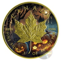 HALLOWEEN-JACK-O-LANTERN-2016 1 OZ SILVER MAPLE LEAF COIN COLOR & GILD